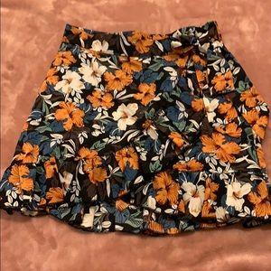 Mini floral wrap skirt